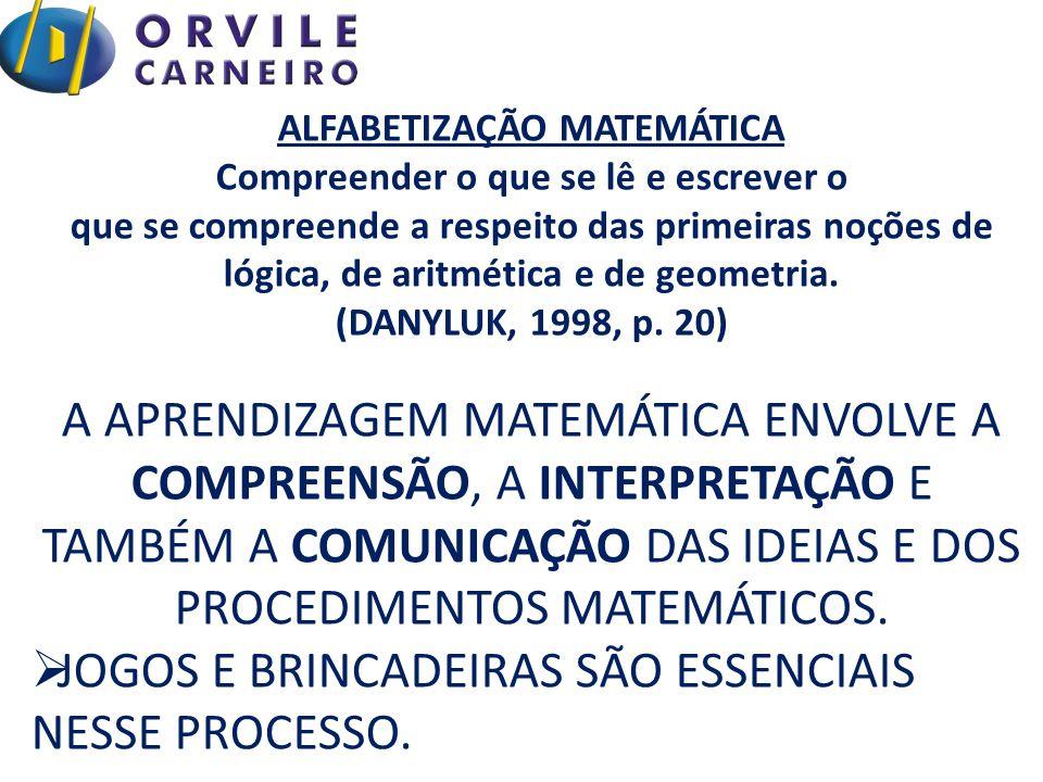 ALFABETIZAÇÃO MATEMÁTICA Compreender o que se lê e escrever o que se compreende a respeito das primeiras noções de lógica, de aritmética e de geometria.