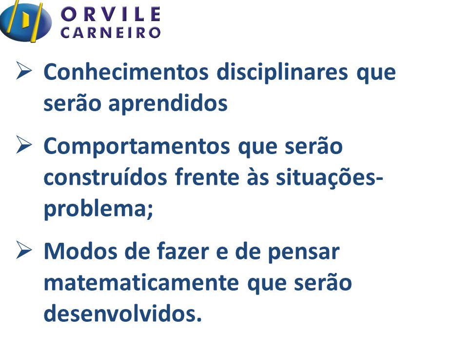  Conhecimentos disciplinares que serão aprendidos  Comportamentos que serão construídos frente às situações- problema;  Modos de fazer e de pensar matematicamente que serão desenvolvidos.