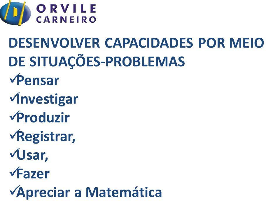 DESENVOLVER CAPACIDADES POR MEIO DE SITUAÇÕES-PROBLEMAS Pensar Investigar Produzir Registrar, Usar, Fazer Apreciar a Matemática