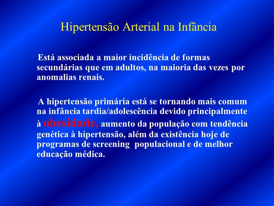 Hipertensão Arterial na Infância Está associada a maior incidência de formas secundárias que em adultos, na maioria das vezes por anomalias renais. A