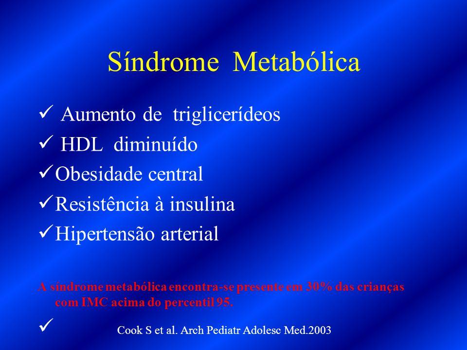 Síndrome Metabólica Aumento de triglicerídeos HDL diminuído Obesidade central Resistência à insulina Hipertensão arterial A síndrome metabólica encont