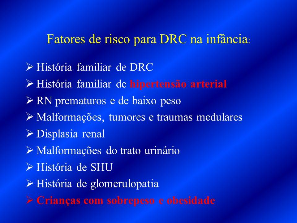 Fatores de risco para DRC na infância :  História familiar de DRC  História familiar de hipertensão arterial  RN prematuros e de baixo peso  Malfo
