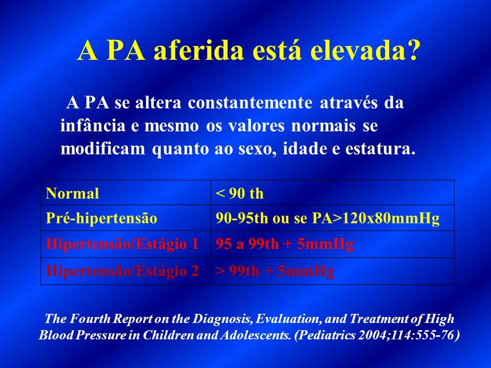 A PA aferida está elevada? A PA se altera constantemente através da infância e mesmo os valores normais se modificam quanto ao sexo, idade e estatura.