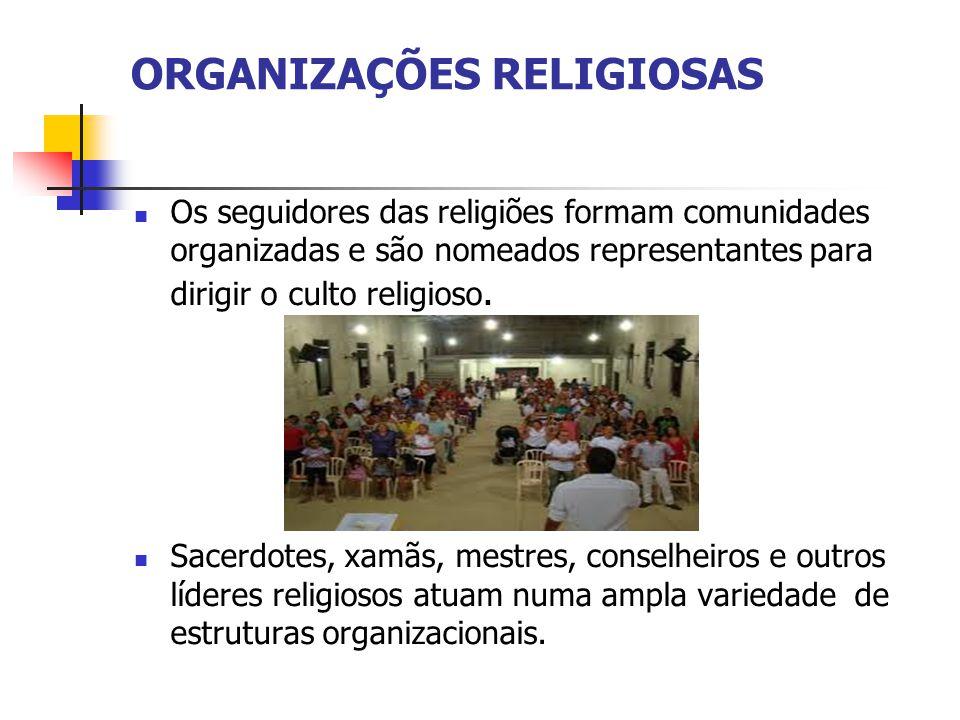 ORGANIZAÇÕES RELIGIOSAS Os seguidores das religiões formam comunidades organizadas e são nomeados representantes para dirigir o culto religioso.