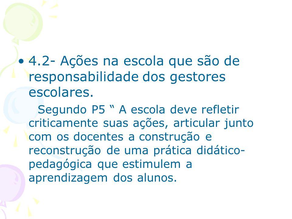 4.2- Ações na escola que são de responsabilidade dos gestores escolares.