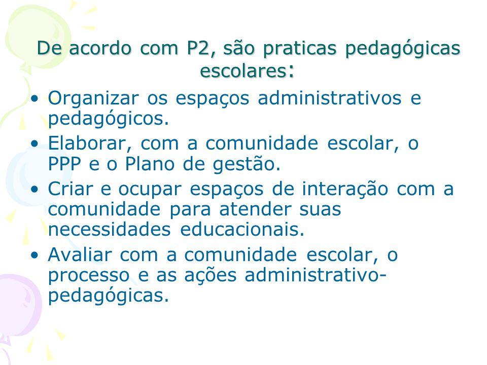 De acordo com P2, são praticas pedagógicas escolares : Organizar os espaços administrativos e pedagógicos.