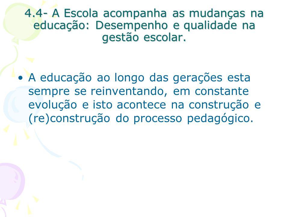 4.4- A Escola acompanha as mudanças na educação: Desempenho e qualidade na gestão escolar.