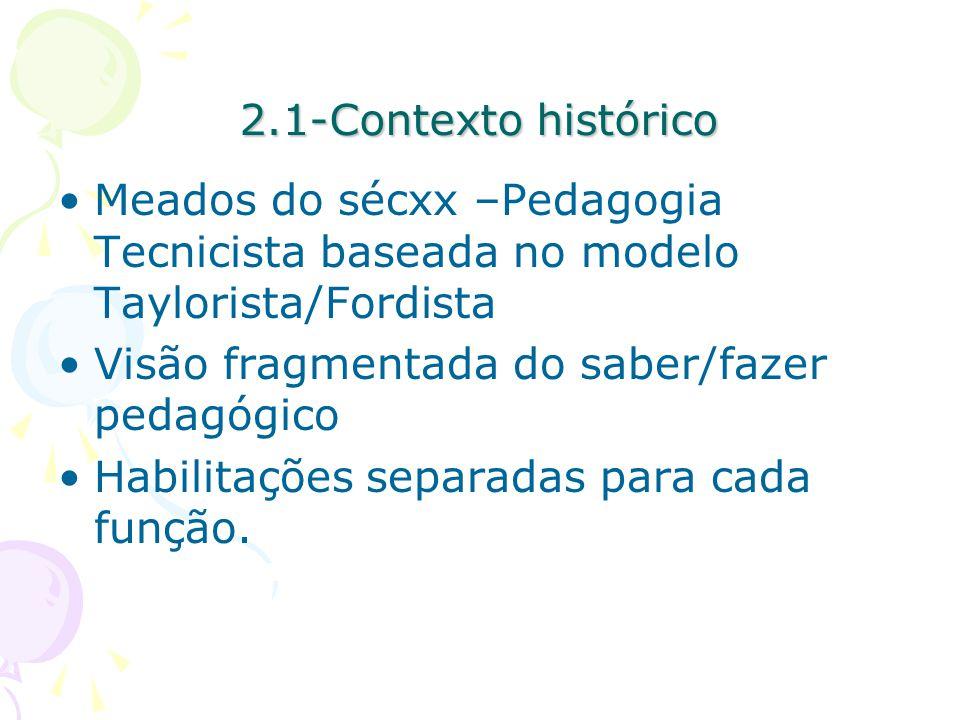 2.1-Contexto histórico Meados do sécxx –Pedagogia Tecnicista baseada no modelo Taylorista/Fordista Visão fragmentada do saber/fazer pedagógico Habilitações separadas para cada função.