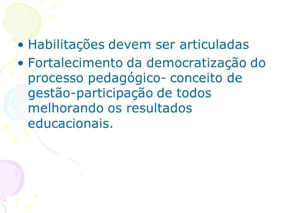 Habilitações devem ser articuladas Fortalecimento da democratização do processo pedagógico- conceito de gestão-participação de todos melhorando os resultados educacionais.