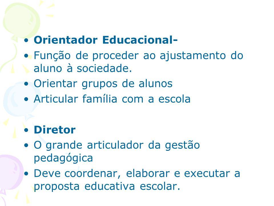 Orientador Educacional- Função de proceder ao ajustamento do aluno à sociedade.