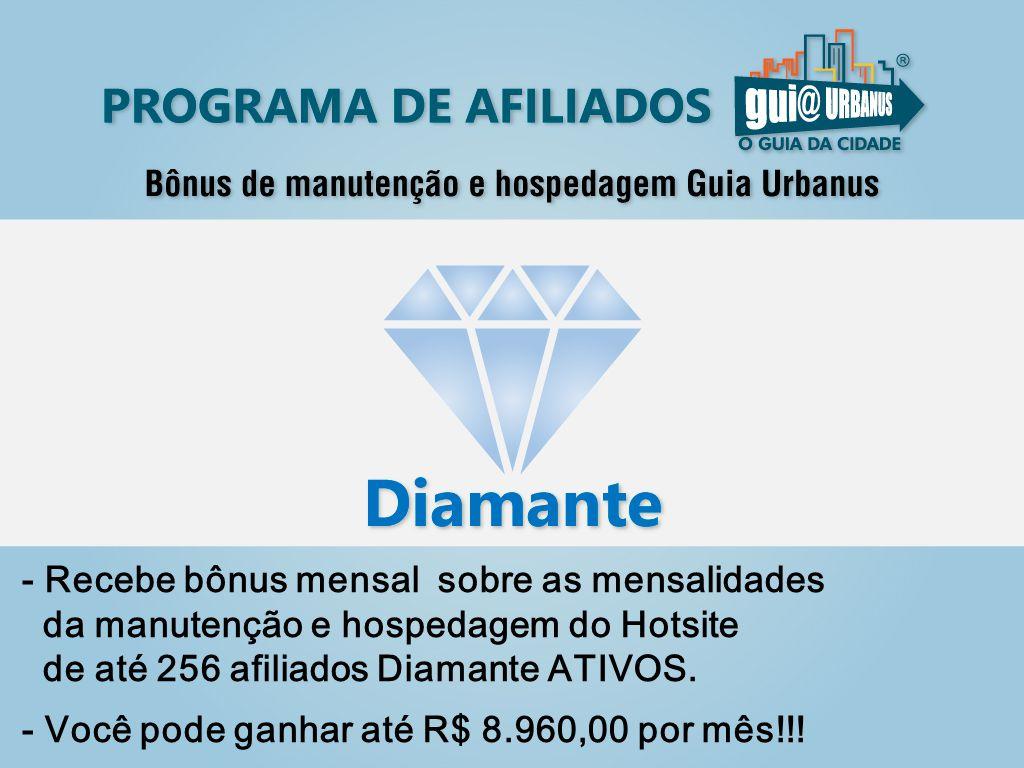 - Recebe bônus mensal sobre as mensalidades da manutenção e hospedagem do Hotsite de até 256 afiliados Diamante ATIVOS.