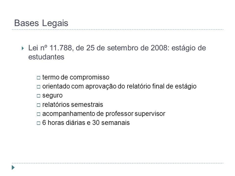 Bases Legais  Lei nº 11.788, de 25 de setembro de 2008: estágio de estudantes  termo de compromisso  orientado com aprovação do relatório final de estágio  seguro  relatórios semestrais  acompanhamento de professor supervisor  6 horas diárias e 30 semanais