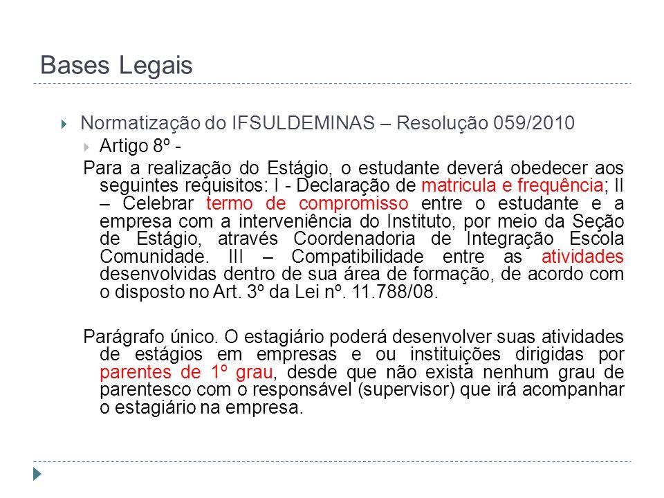 Bases Legais  Normatização do IFSULDEMINAS – Resolução 059/2010  Artigo 8º - Para a realização do Estágio, o estudante deverá obedecer aos seguintes requisitos: I - Declaração de matricula e frequência; II – Celebrar termo de compromisso entre o estudante e a empresa com a interveniência do Instituto, por meio da Seção de Estágio, através Coordenadoria de Integração Escola Comunidade.