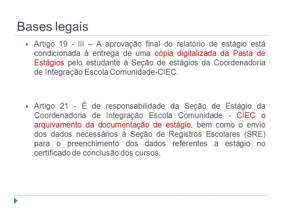 Bases legais  Artigo 19 - III – A aprovação final do relatório de estágio está condicionada à entrega de uma cópia digitalizada da Pasta de Estágios pelo estudante à Seção de estágios da Coordenadoria de Integração Escola Comunidade-CIEC.