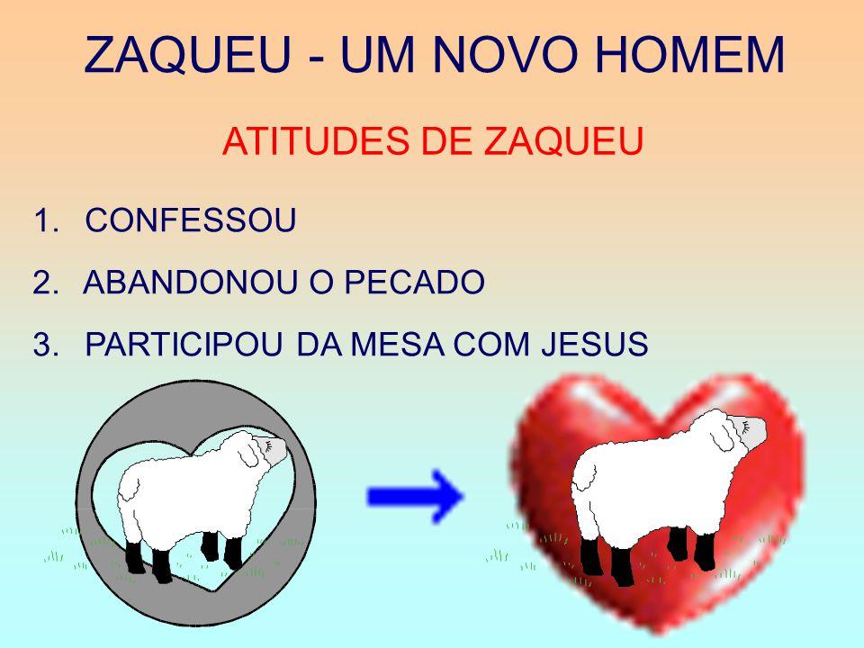 ZAQUEU - UM NOVO HOMEM ATITUDES DE ZAQUEU 1. CONFESSOU 2.