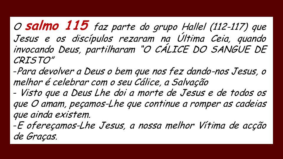 O salmo 115 faz parte do grupo Hallel (112-117) que Jesus e os discípulos rezaram na Última Ceia, quando invocando Deus, partilharam O CÁLICE DO SANGUE DE CRISTO -Para devolver a Deus o bem que nos fez dando-nos Jesus, o melhor é celebrar com o seu Cálice, a Salvação - Visto que a Deus Lhe doi a morte de Jesus e de todos os que O amam, peçamos-Lhe que continue a romper as cadeias que ainda existem.