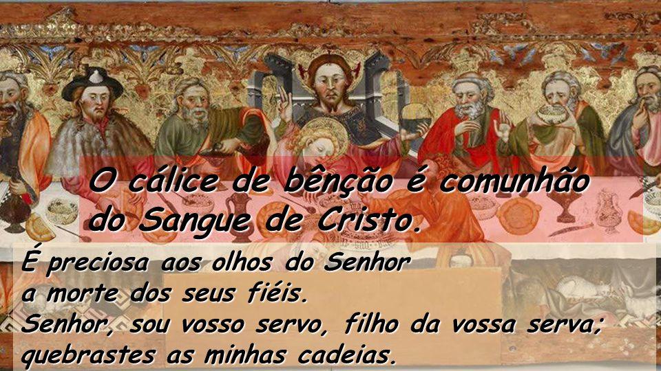 Tábua gótica da Santa Ceia, de Jaume Ferrer (1450) Museu diocesano de Solsona Salmo 115 O cálice de bênção é comunhão do Sangue de Cristo. Como agrade