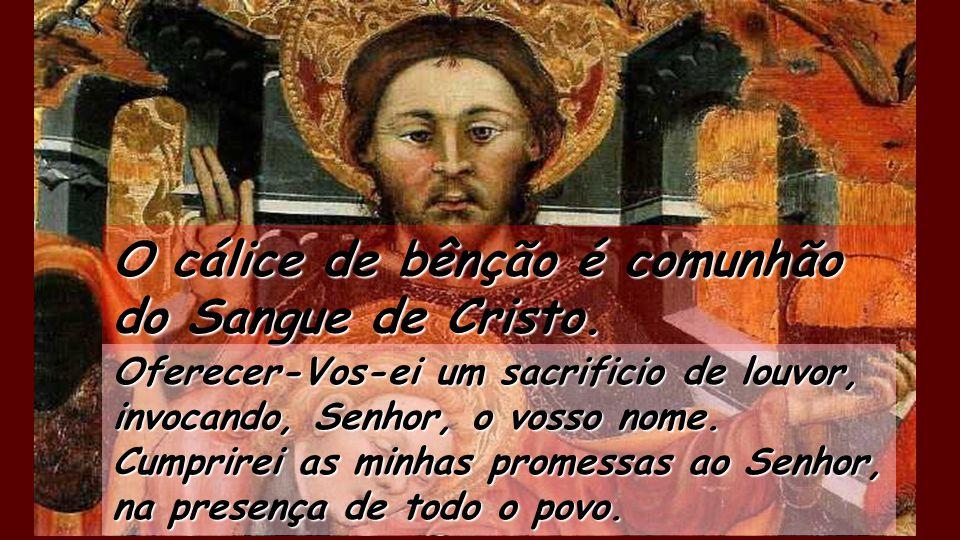 O cálice de bênção é comunhão do Sangue de Cristo. É preciosa aos olhos do Senhor a morte dos seus fiéis. Senhor, sou vosso servo, filho da vossa serv