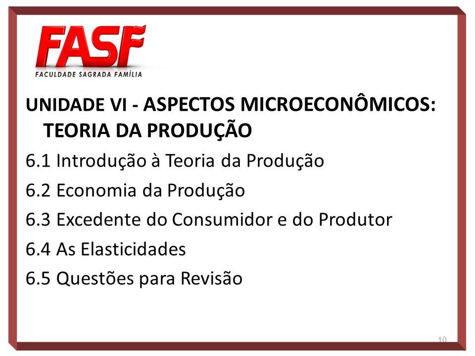 UNIDADE VI - ASPECTOS MICROECONÔMICOS: TEORIA DA PRODUÇÃO 6.1 Introdução à Teoria da Produção 6.2 Economia da Produção 6.3 Excedente do Consumidor e d