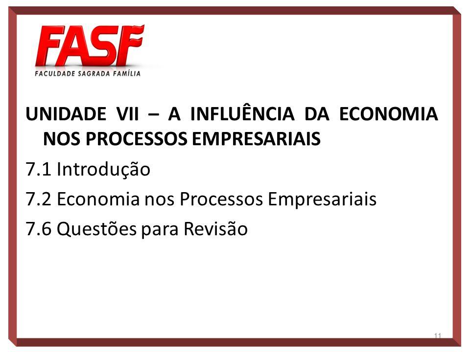 UNIDADE VII – A INFLUÊNCIA DA ECONOMIA NOS PROCESSOS EMPRESARIAIS 7.1 Introdução 7.2 Economia nos Processos Empresariais 7.6 Questões para Revisão 11