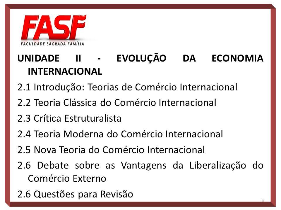 UNIDADE II - EVOLUÇÃO DA ECONOMIA INTERNACIONAL 2.1 Introdução: Teorias de Comércio Internacional 2.2 Teoria Clássica do Comércio Internacional 2.3 Cr