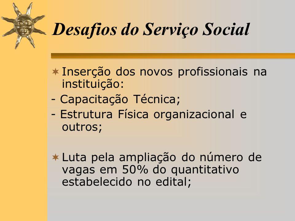 Desafios do Serviço Social  Inserção dos novos profissionais na instituição: - Capacitação Técnica; - Estrutura Física organizacional e outros;  Luta pela ampliação do número de vagas em 50% do quantitativo estabelecido no edital;