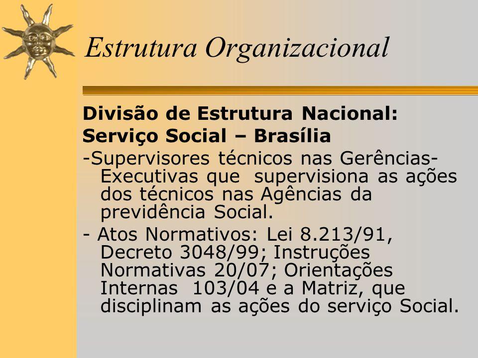 Estrutura Organizacional Divisão de Estrutura Nacional: Serviço Social – Brasília -Supervisores técnicos nas Gerências- Executivas que supervisiona as ações dos técnicos nas Agências da previdência Social.