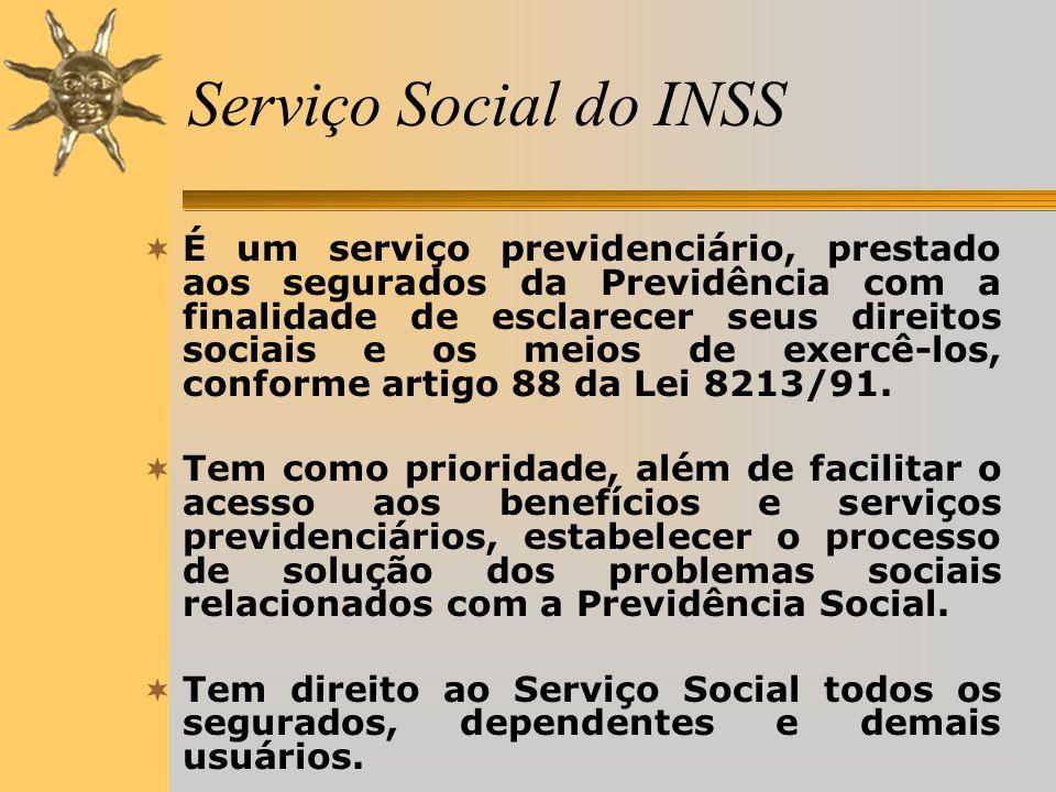 Serviço Social do INSS  É um serviço previdenciário, prestado aos segurados da Previdência com a finalidade de esclarecer seus direitos sociais e os meios de exercê-los, conforme artigo 88 da Lei 8213/91.