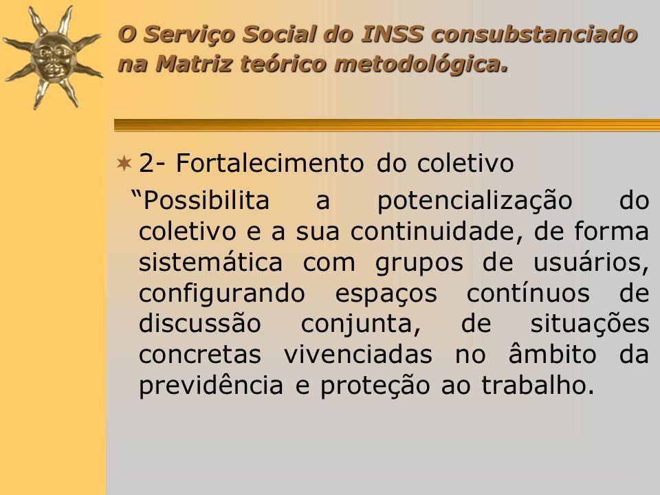 O Serviço Social do INSS consubstanciado na Matriz teórico metodológica.