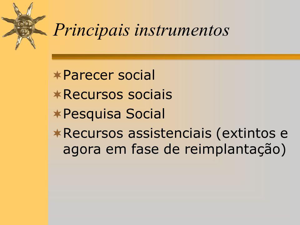 Principais instrumentos  Parecer social  Recursos sociais  Pesquisa Social  Recursos assistenciais (extintos e agora em fase de reimplantação)