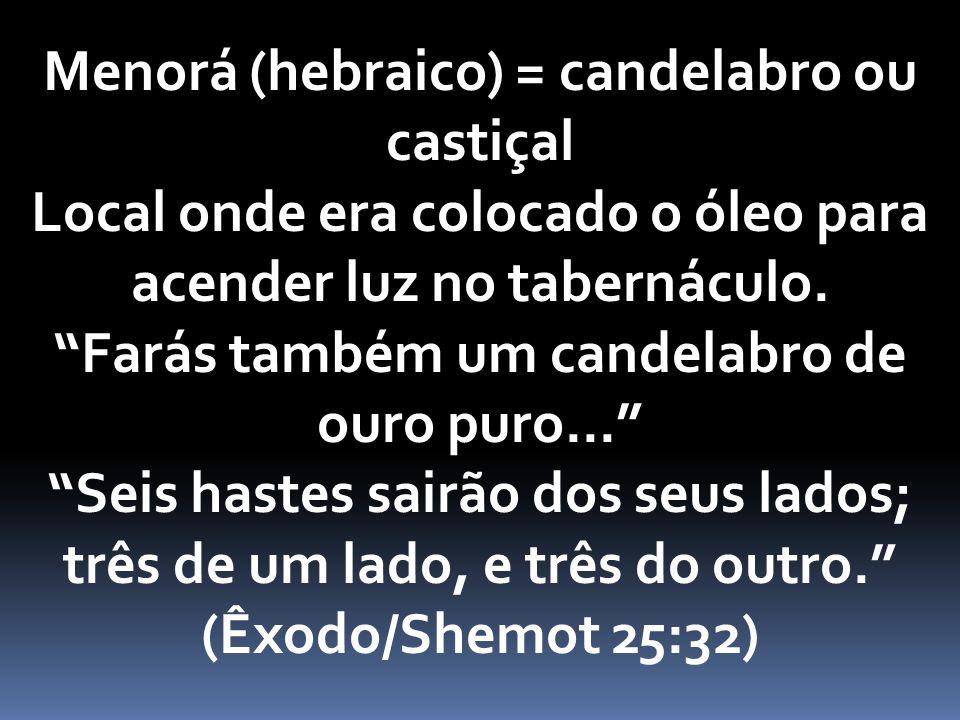 Menorá (hebraico) = candelabro ou castiçal Local onde era colocado o óleo para acender luz no tabernáculo.