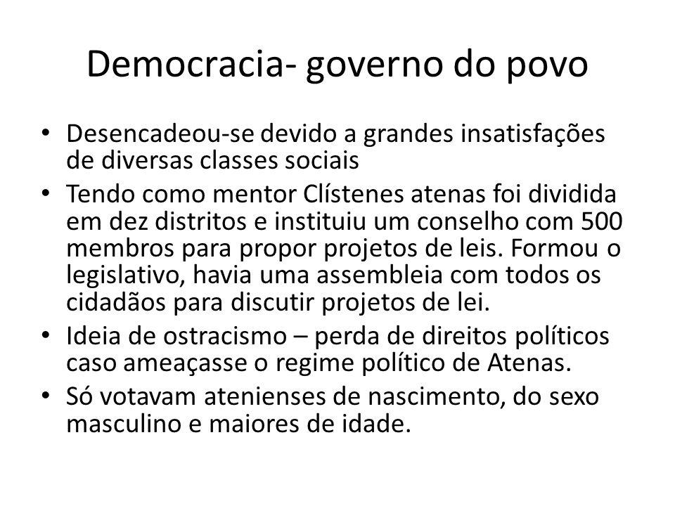 Democracia- governo do povo Desencadeou-se devido a grandes insatisfações de diversas classes sociais Tendo como mentor Clístenes atenas foi dividida