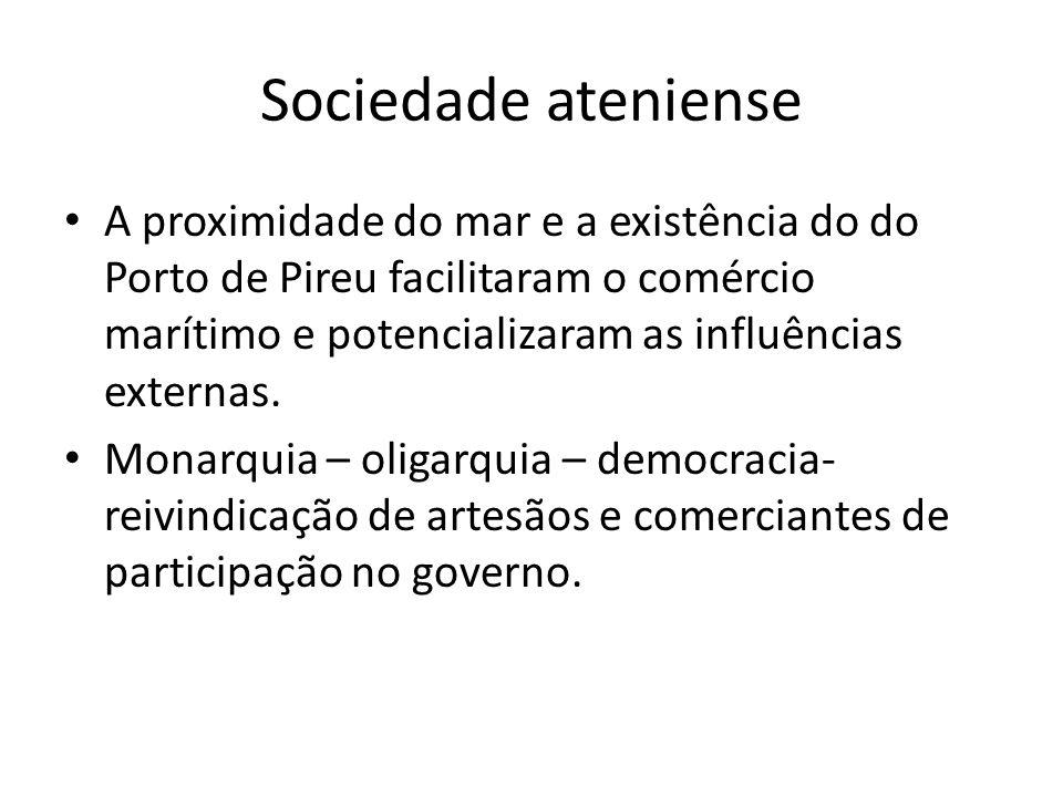 Sociedade ateniense A proximidade do mar e a existência do do Porto de Pireu facilitaram o comércio marítimo e potencializaram as influências externas.