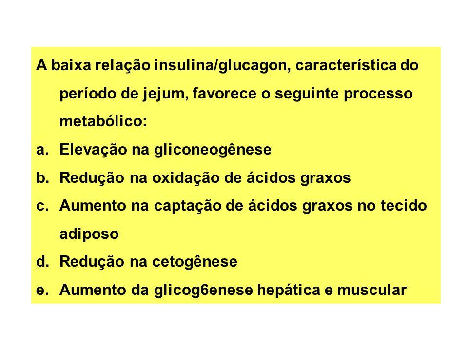 A baixa relação insulina/glucagon, característica do período de jejum, favorece o seguinte processo metabólico: a.Elevação na gliconeogênese b.Redução na oxidação de ácidos graxos c.Aumento na captação de ácidos graxos no tecido adiposo d.Redução na cetogênese e.Aumento da glicog6enese hepática e muscular