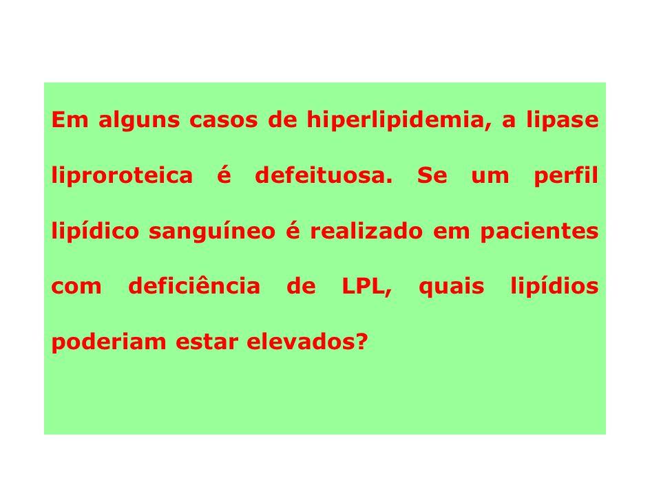 Em alguns casos de hiperlipidemia, a lipase liproroteica é defeituosa.
