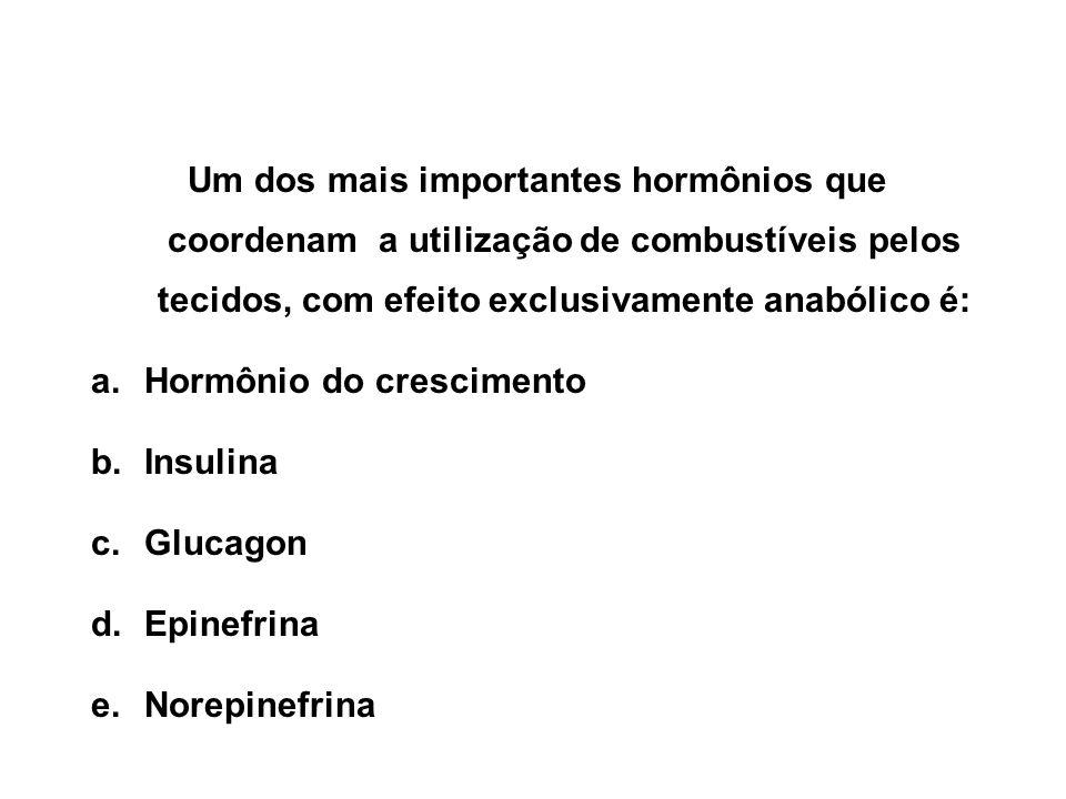 Um dos mais importantes hormônios que coordenam a utilização de combustíveis pelos tecidos, com efeito exclusivamente anabólico é: a.Hormônio do crescimento b.Insulina c.Glucagon d.Epinefrina e.Norepinefrina