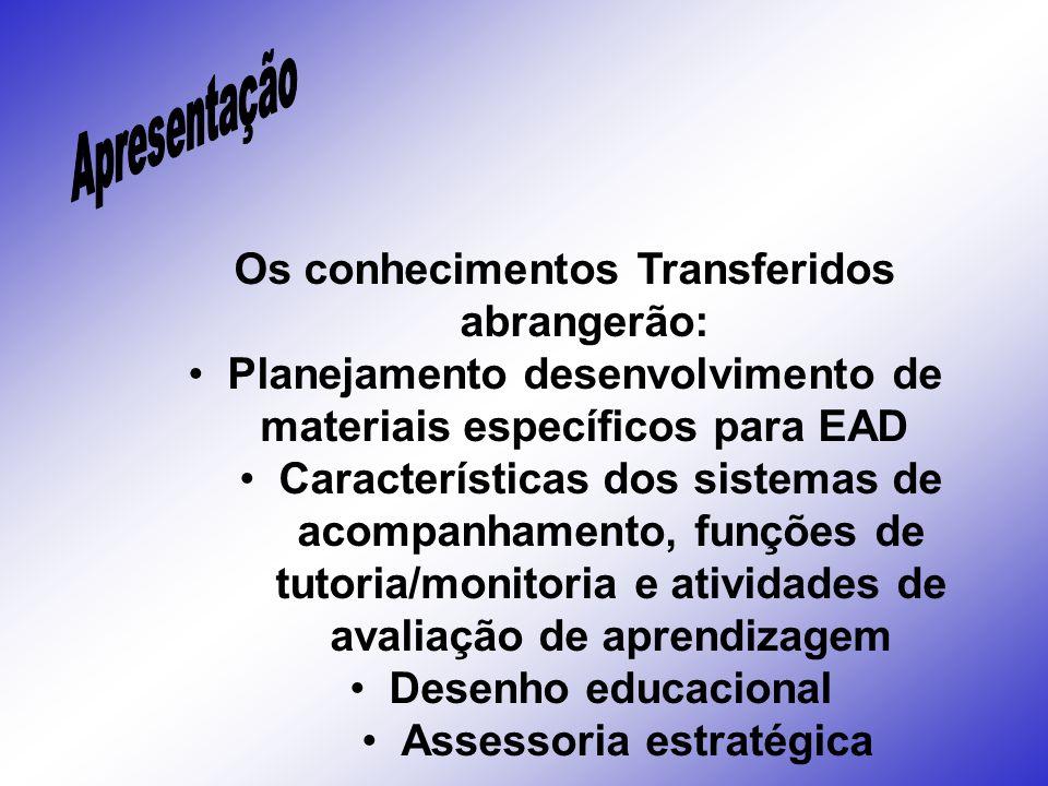 Os conhecimentos Transferidos abrangerão: Planejamento desenvolvimento de materiais específicos para EAD Características dos sistemas de acompanhament