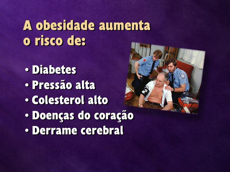 A obesidade aumenta o risco de: Diabetes Pressão alta Colesterol alto Doenças do coração Derrame cerebral Diabetes Pressão alta Colesterol alto Doenças do coração Derrame cerebral