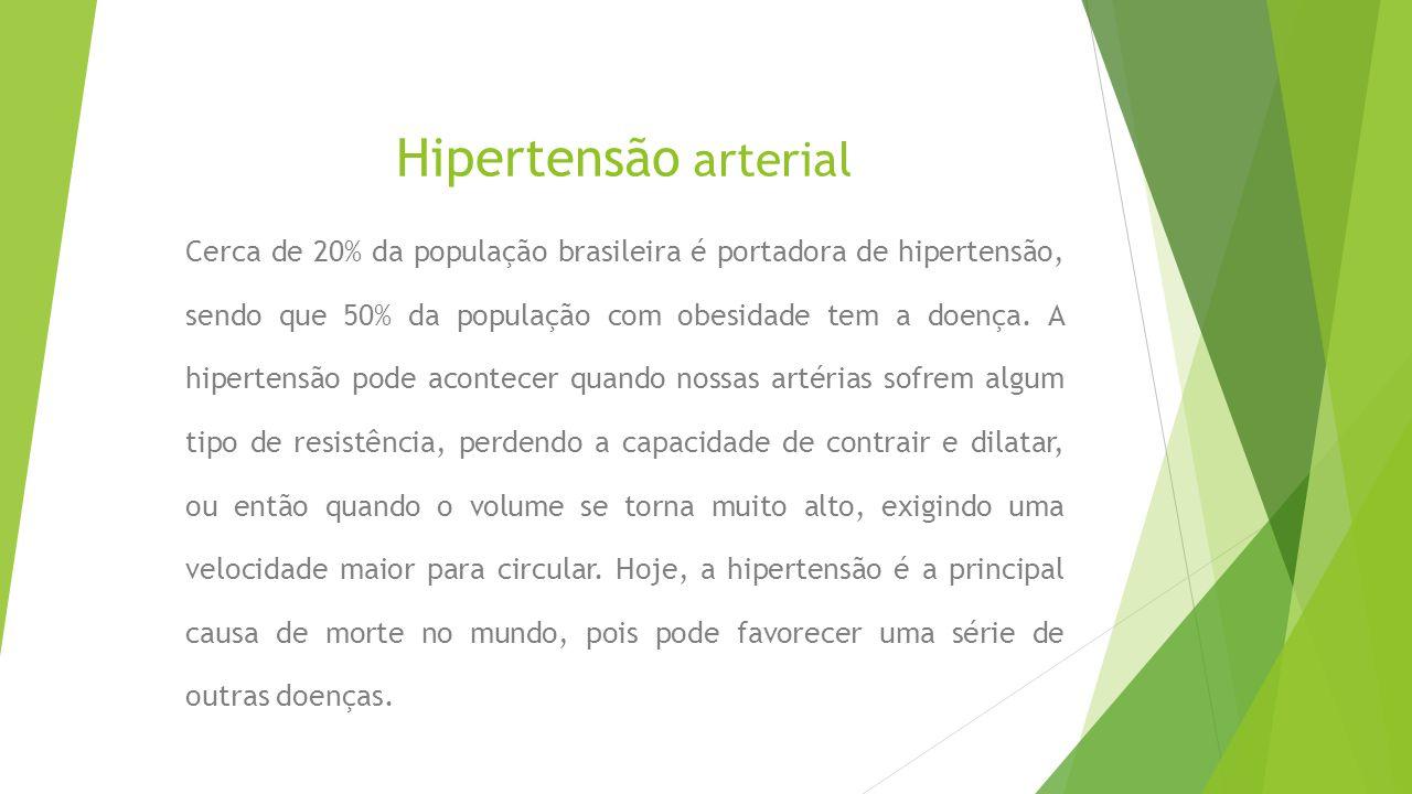 Hipertensão arterial Cerca de 20% da população brasileira é portadora de hipertensão, sendo que 50% da população com obesidade tem a doença.