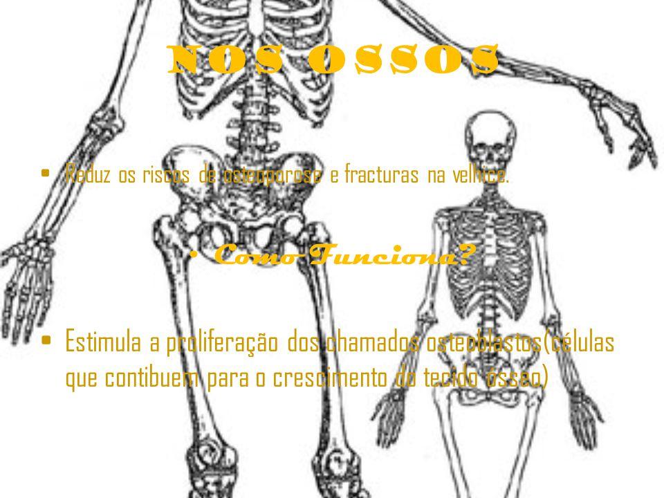 Nos Ossos Reduz os riscos de osteoporose e fracturas na velhice.