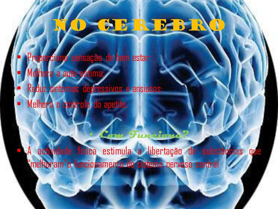 No Cerebro Proporciona sensação de bem estar; Melhora a auto-estima; Reduz sintomas depressivos e ansiosos; Melhora o controlo do apetite.