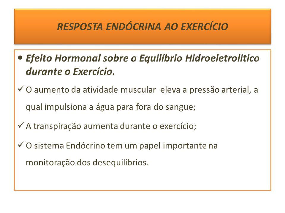 RESPOSTA ENDÓCRINA AO EXERCÍCIO Efeito Hormonal sobre o Equilíbrio Hidroeletrolitico durante o Exercício. O aumento da atividade muscular eleva a pres