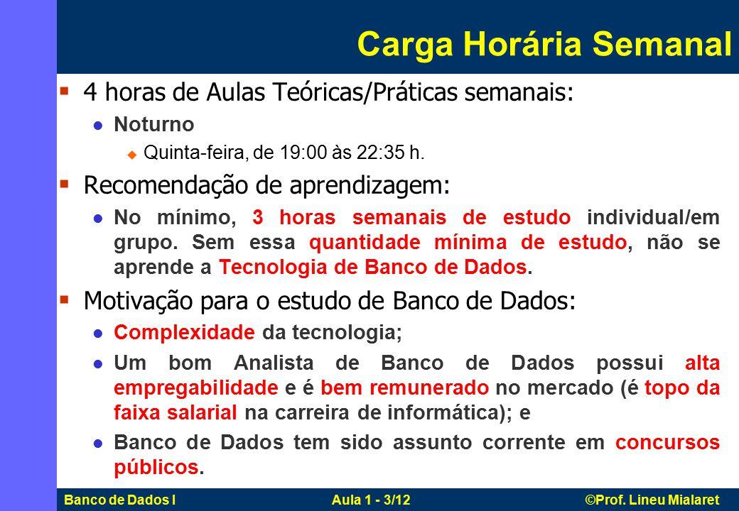 Banco de Dados I Aula 1 - 3/12 ©Prof. Lineu Mialaret Carga Horária Semanal  4 horas de Aulas Teóricas/Práticas semanais: Noturno  Quinta-feira, de 1