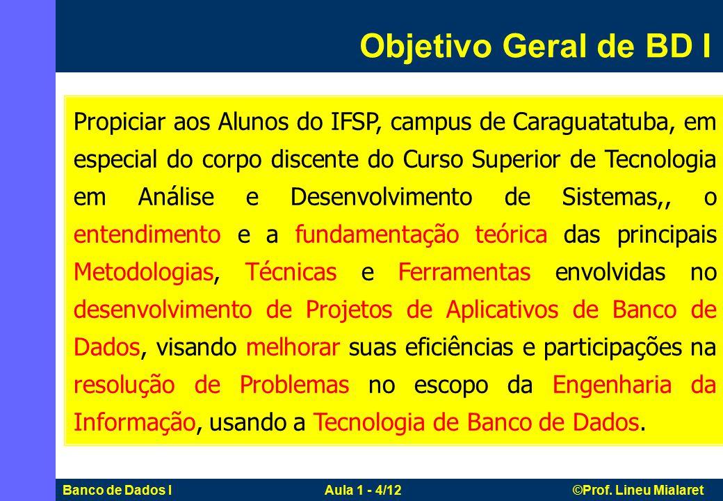 Banco de Dados I Aula 1 - 4/12 ©Prof.