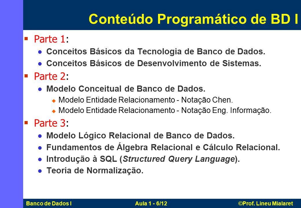 Banco de Dados I Aula 1 - 6/12 ©Prof. Lineu Mialaret  Parte 1: Conceitos Básicos da Tecnologia de Banco de Dados. Conceitos Básicos de Desenvolviment