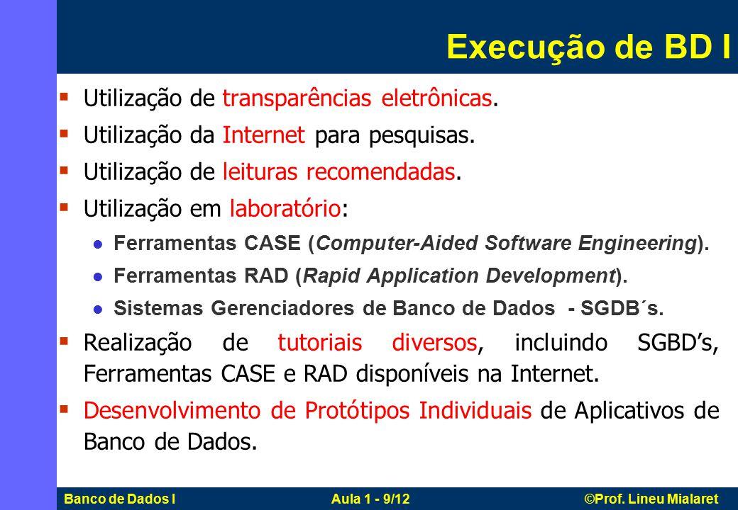 Banco de Dados I Aula 1 - 9/12 ©Prof.Lineu Mialaret  Utilização de transparências eletrônicas.