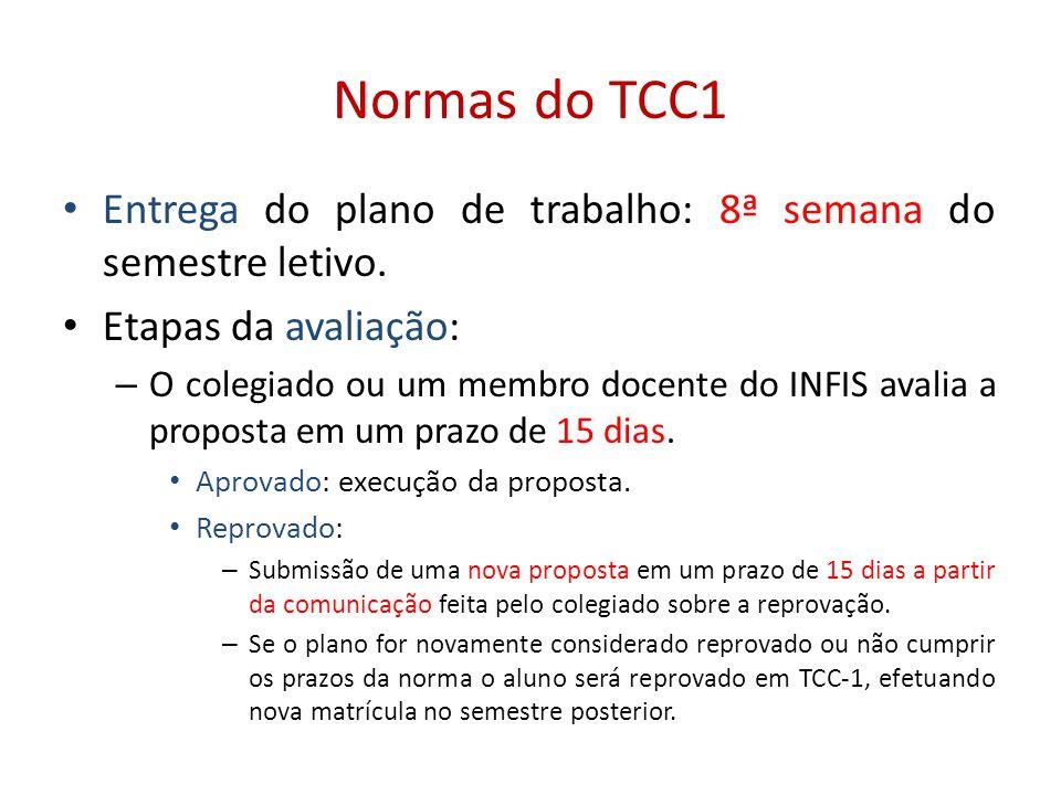 Normas do TCC1 Entrega do plano de trabalho: 8ª semana do semestre letivo. Etapas da avaliação: – O colegiado ou um membro docente do INFIS avalia a p