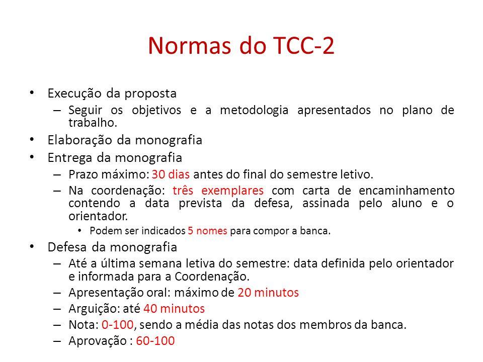 Normas do TCC-2 Execução da proposta – Seguir os objetivos e a metodologia apresentados no plano de trabalho. Elaboração da monografia Entrega da mono
