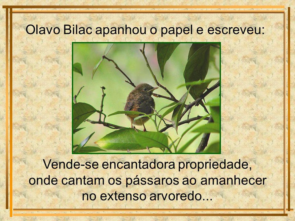 Olavo Bilac apanhou o papel e escreveu: Vende-se encantadora propriedade, onde cantam os pássaros ao amanhecer no extenso arvoredo...