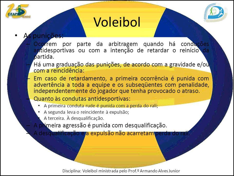 Voleibol As punições: – Ocorrem por parte da arbitragem quando há conduções antidesportivas ou com a intenção de retardar o reinício da partida.